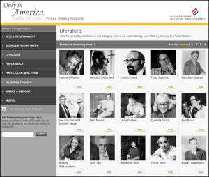 Screenshot of The National Museum of American Jewish History online Hall of Fame poll
