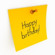 Happy Birthday Post-it note (Big stock image)