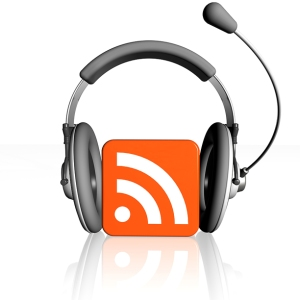 RSS symbol with podcast headphone and microphone