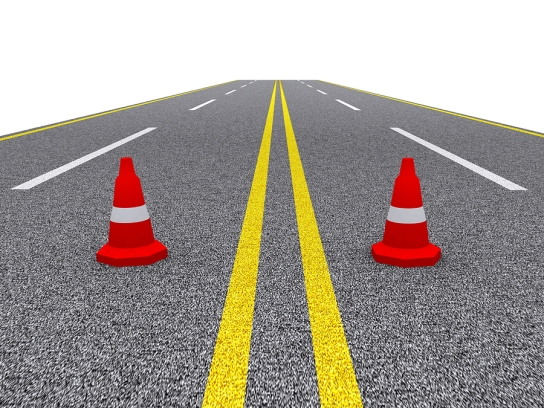 road with cones blocking both sides