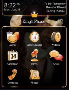 Screen shot of the homepage to the Burger King mobile website