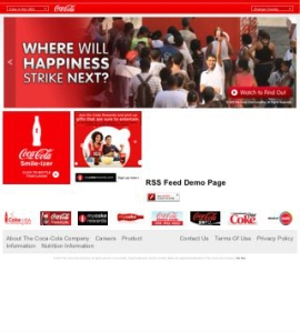 Homepage to Coca Cola's website as seen on an iPhone